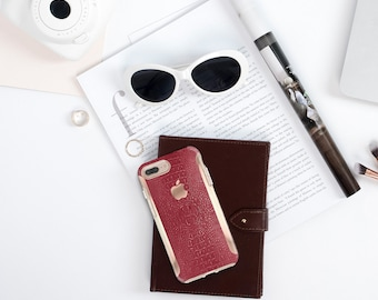 Red Crocodile iPhone 8 Case iPhone 8 Plus Case iPhone X . Kate Spade Inspired . Rose Gold Case . Otterbox Symmetry