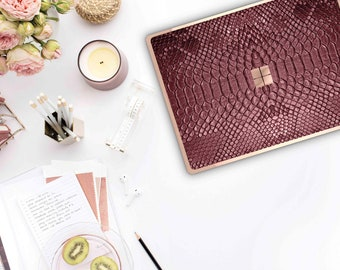 Burgundy Crocodile and Rose Gold Edge Vinyl Skin  Microsoft Surface Pro X , Surface Laptop 3 , Surface Pro 7  . Surface Go . Monogram
