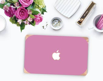 Soft Purple and Curvy Rose Gold Edge . Distinctive Macbook Hard Case and Bold Rose Gold Accents . Macbook Pro 13 Case . Custom Monogram