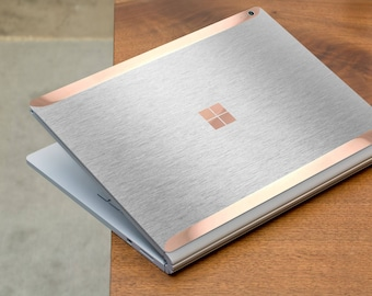 Brushed Aluminum and Rose Gold Edge Vinyl Skin  Microsoft Surface Book 2 , Surface Laptop 2 , Surface Pro 6  . Surface Go . Monogram