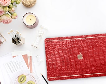 Red Alligator Leather . Distinctive Macbook Hard Case and Bold Rose Gold Accents . Macbook Pro 13 Case . Custom Monogram