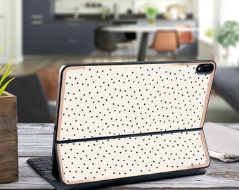 "Dots and Cream and Rose Gold Vinyl Skin Decal - Apple Smart Keyboard Folio Magic Keyboard  . iPad Pro 12.9"" . iPad Air 10.5"