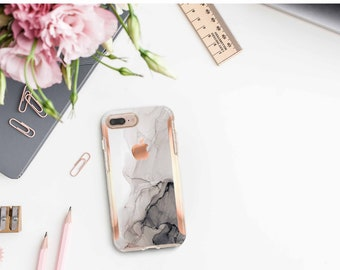 Nude Charcoal Ink marble and Rose Gold Hard Case Otterbox Symmetry . iPhone Xs . iPhone XR . iPhone 11 . iPhone 11 Pro . iPhone 11 Pro Max