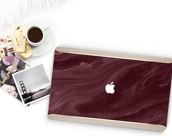 Burgundy Swirl Marble and Tusk Sparkle Edge . Macbook Pro 13 Case Macbook Air Case Laptop Case Macbook Case . Rose Gold Chrome . Platinum