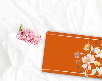Light Burnt Orange Flowerly Collection Leather Macbook Case . Distinctive Macbook Hard Case and Rose Gold . Macbook Pro 13 Case . Monogram