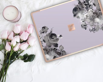 Frozen Lilac Flowerly Collection and Rose Gold Edge Vinyl Skin Microsoft Surface Pro X , Surface Laptop 3 , Surface Pro 7 . Go . Monogram