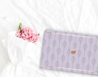Frozen Lilac Pattern Collection Leather Macbook Case . Distinctive Macbook Hard Case and Rose Gold . Macbook Pro 13 Case . Custom Monogram