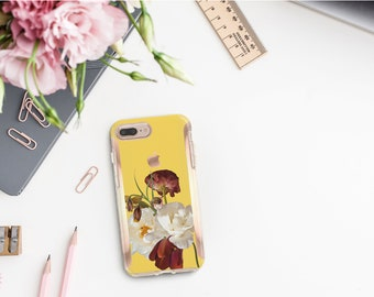 Brushed Canary Flowerly Collection and Rose Gold Hard Case Otterbox Symmetry  iPhone SE 2020   iPhone 11 Pro Max   iPhone XR      Monogram
