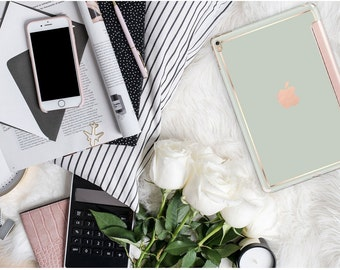 "Light Pistachio with Rose Gold Smart Cover Hard Case . iPad Pro 12.9 2018 . iPad Pro 11"" . iPad Air 10.5"". iPad Mini 5 . Custom Monogram"