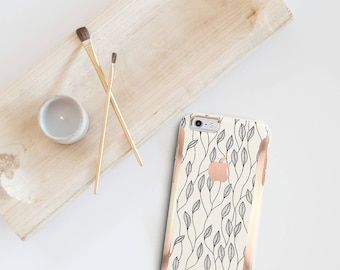 Minimalist Floral and Rose Gold Hard Case Otterbox Symmetry             . iPhone X . iPhone Xs Max . iPhone XR . iPhone 8 . PopSocket