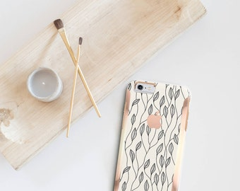 Minimalist Floral and Rose Gold Hard Case Otterbox Symmetry             . iPhone X . iPhone Xs Max . iPhone XR . iPhone 8 . iPhone 11