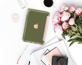 Olive Green Rose Gold Smart Cover Hard Case for    iPad Pro  . New iPad 9.7 2018. New iPad Pro 12.9 2018 . iPad Pro 11""
