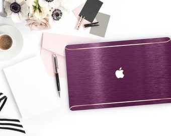 Elegant Brushed Purple Davenport . Distinctive Macbook Hard Case and Bold Rose Gold Accents . Macbook Pro 13 Case . Custom Monogram