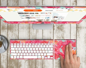 "Fleur Skin for iMac 21.5""  . iMac 27"" 5k (Includes Wireless Apple Keyboard / Apple Magic Touchpad / Foot). Monogram"