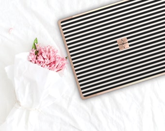 Black and Cream Stripes and Rose Gold Edge Vinyl Skin Microsoft Surface Pro X , Surface Laptop 3 , Surface Pro 7 . Surface Go . Monogram