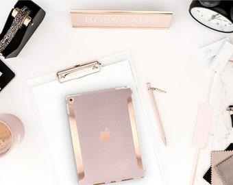 "iPad Pale Vellum with Bold Rose Gold Accents   Smart Keyboard compatible Hard  . iPad Air 10.5"" . iPad Mini 5 . iPad Pro 10.5"""