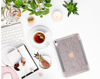 "Gray Silver Snake with Thin Rose Gold Accents Otterbox Symmetry Folio Hard Case for the New iPad Pro 12.9"" Fall 2018 . New iPad Pro 11"" 2018"
