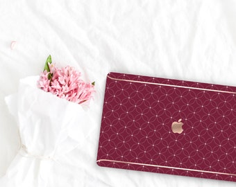 Wine Pattern Collection Leather Macbook Case . Distinctive Macbook Hard Case and Rose Gold . Macbook Pro 13 Case A2159  . Custom Monogram