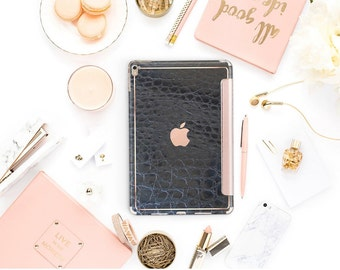 Black Mica Alligator with Rose Gold Smart Cover Hard Case for    iPad Pro  . New iPad 9.7 2018. New iPad Pro 12.9 2018 . iPad Pro 11""