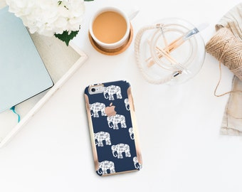 Platinum Edition Ethnic Elephant with Rose Gold Hybrid Hard Case Otterbox Symmetry iPhone 6/6s, iPhone 6/6s Plus / Galaxy S6 / Galaxy S7