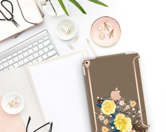 "Moss Flowerly Collection with Bold Rose Gold Accents   Smart Keyboard compatible Hard  . iPad Air 10.5"" . iPad Mini 5 . iPad Pro 10.5"""