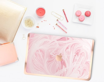 Cute Pink Marble Swirl . Distinctive Macbook Hard Case and Bold Rose Gold Accents . Macbook Pro 13 Case . Custom Monogram