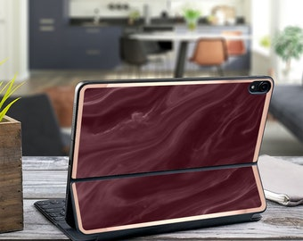 "Burgundy Marble Swirl and Rose Gold Vinyl Skin Decal - Apple Smart Keyboard Folio iPad Pro 11"" . iPad Pro 12.9"" . iPad Air 10.5"" . Monogram"