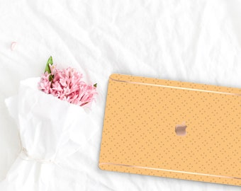 Macaroni and Cheese Pattern Collection Leather Macbook Case . Distinctive Macbook Hard Case and Rose Gold . Macbook Pro 13 Case . Monogram