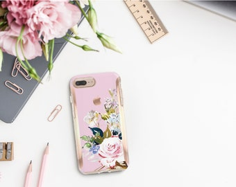 Sweet Pea Flowerly Collection and Rose Gold Hard Case Otterbox Symmetry. iPhone X . iPhone Xs Max . iPhone XR . iPhone 8 . Monogram