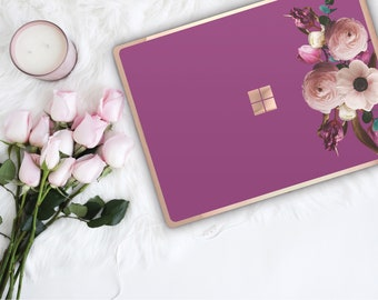 Razzmic Berry Flowerly Collection and Rose Gold Edge Vinyl Skin Microsoft Surface Pro X , Surface Laptop 3 , Surface Pro 7 . Surface Go