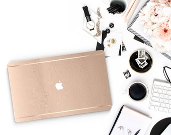 Leather Beach Wood and Thin Rose Gold Accents Macbook Hard Case . Hand-Made Macbook Hard Case   . Macbook Air 13 2018 A1990 . A1990