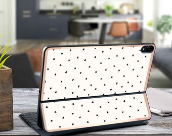 "Polka Hearts and Rose Gold Vinyl Skin Decal - Apple Smart Keyboard Folio Magic Keyboard  . iPad Pro 12.9"" . iPad Air 10.5"