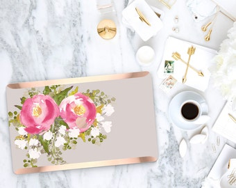 Pink Blossom                   . Distinctive Macbook Hard Case and Bold Rose Gold Accents . Macbook Pro 13 Case . Custom Monogram