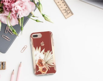 Cinnamon Spice Flowerly Collection and Rose Gold Hard Case Otterbox Symmetry. iPhone X . iPhone Xs Max . iPhone XR . iPhone 8 . Monogram