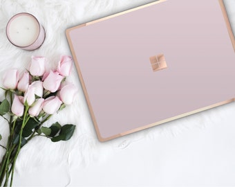 Pink Lemonade and Rose Gold Edge Vinyl Skin  Microsoft Surface Book 2 , Surface Laptop 2 , Surface Pro 6  . Surface Go . Monogram