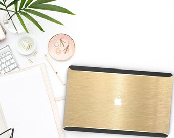 Macbook Pro 13 Case Macbook Air Case Laptop Case Macbook Case . Elegant Brushed Gold + Gold Chrome Detailing + Black Velvet - Platinum