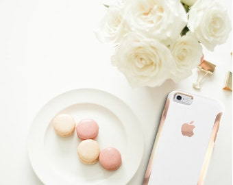 Elegant White with Rose Gold   Hard Case Otterbox Symmetry           . iPhone X . iPhone Xs Max . iPhone XR . iPhone 8 . PopSocket