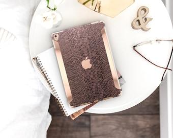"iPad Bronze Snake with Bold Rose Gold Accents   Smart Keyboard compatible Hard  . iPad Air 10.5"" . iPad Mini 5 . iPad Pro 10.5"""