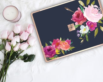 Navy Blue Flowerly Collection and Rose Gold Edge Vinyl Skin Microsoft Surface Pro X , Surface Laptop 3 , Surface Pro 7  Surface Go