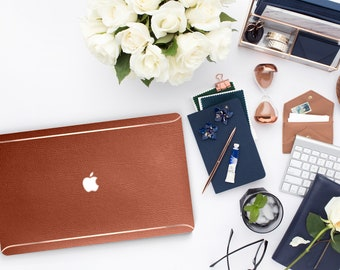 Cognac . Distinctive Macbook Hard Case and Bold Rose Gold Accents . Macbook Pro 13 Case . Custom Monogram