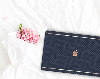 Navy Blue Pattern Collection Leather Macbook Case . Distinctive Macbook Hard Case and Rose Gold . Macbook Pro 13 Case . Custom Monogram