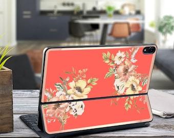 "Wildfleur Coral and Rose Gold Vinyl Skin Decal - Apple Smart Keyboard Folio iPad Pro 11"" . iPad Pro 12.9"" . iPad Air 10.5 .  Monogram"