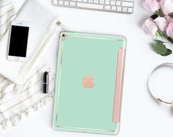 "Paris Green Mint with Rose Gold Smart Cover Hard Case for the      iPad 9.7 2018.  iPad Pro 12.9 2018 . iPad Pro 11"" . iPad Air 10.5"""