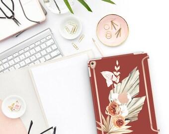 "Cinnamon Spice Flowerly Collection Bold Rose Gold Accents Smart Keyboard compatible Hard . iPad Air 10.5"" . iPad Mini 5 . iPad Pro 10.5"""