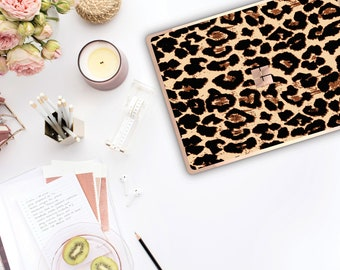 Elusive Leopard and Rose Gold Edge Vinyl Skin Microsoft Surface Pro X , Surface Laptop 3 Surface Pro 7  Surface Go