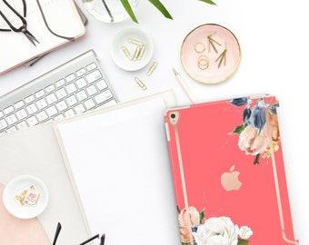"Light Coral Flowerly Collection Bold Rose Gold Accents   Smart Keyboard compatible Hard . iPad Air 10.5"" . iPad Mini 5 . iPad Pro 10.5"""