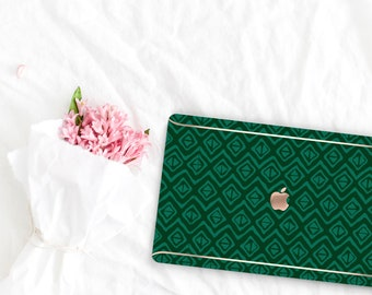 Phthalo Green Pattern Collection Leather Macbook Case . Distinctive Macbook Hard Case and Rose Gold . Macbook Pro 13 Case . Custom Monogram
