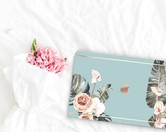 Hazy Flowerly Collection Leather Macbook Case . Distinctive Macbook Hard Case and Rose Gold . Macbook Pro 13 Case . Custom Monogram