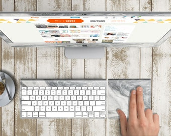 "Gray Marble Vinyl Skin for iMac 21.5""  . iMac 27"" 5k (Includes Wireless Apple Keyboard / Apple Magic Touchpad / Foot). Monogram"