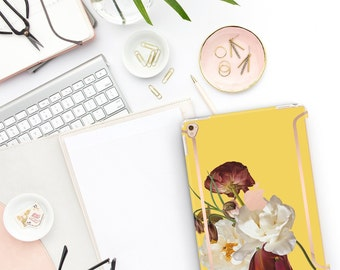"""Canary Flowerly Collection Bold Rose Gold Accents   Smart Keyboard compatible Hard . iPad Air 10.5"""" . iPad Mini 5 . iPad Pro 10.5"""""""